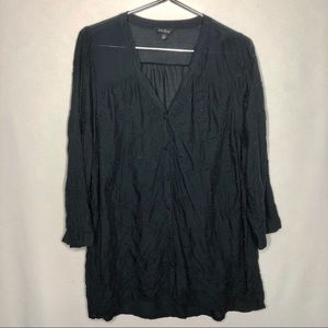 Lucky Brand Embroidered Black 3/4 Sleeve Shirt